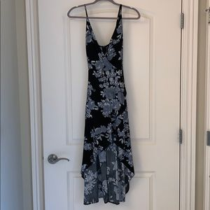 Primi High low black floral print dress